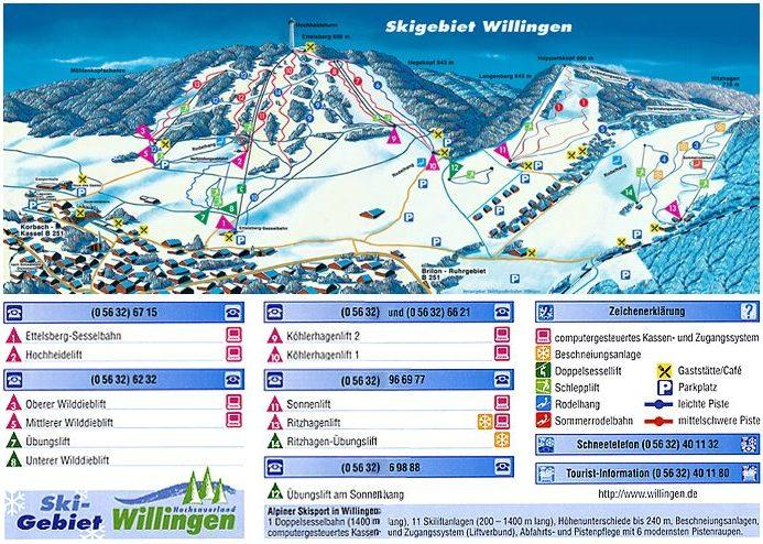 piste en liften kaart Willingen