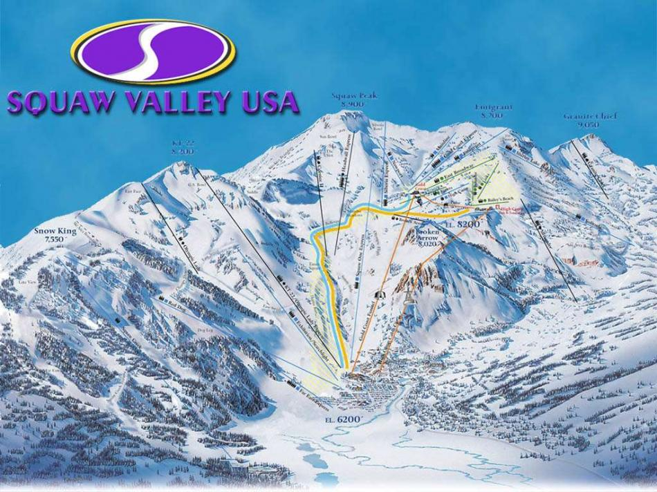 piste en liften kaart Squaw Valley