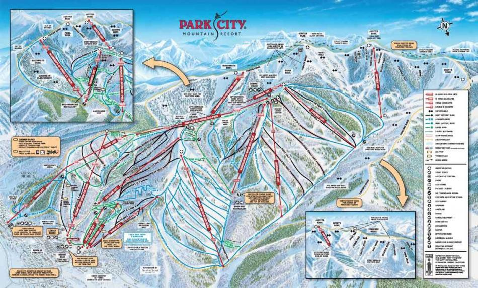 piste en liften kaart Park City